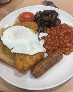 2 The meat-free breakfast at Morrison's: quorn sausage, beans, mushrooms, toast, two hash browns, tomato and an egg for £3.99. I don't need any 'more reasons' to shop here.
