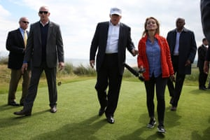 Donald Trump speaks to NBC news correspondent Katy Tur on the golf course at his Trump International Golf Links in Aberdeen, Scotland.