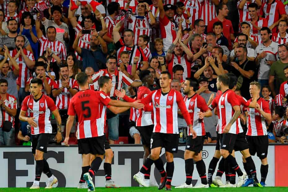 Athletic Bilbao's players celebrate after Iker Muniain scored against Real Madrid.