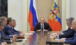 Russia's president, Vladimir Putin, at his security council meeting in the Kremlin, Moscow, on Thursday.