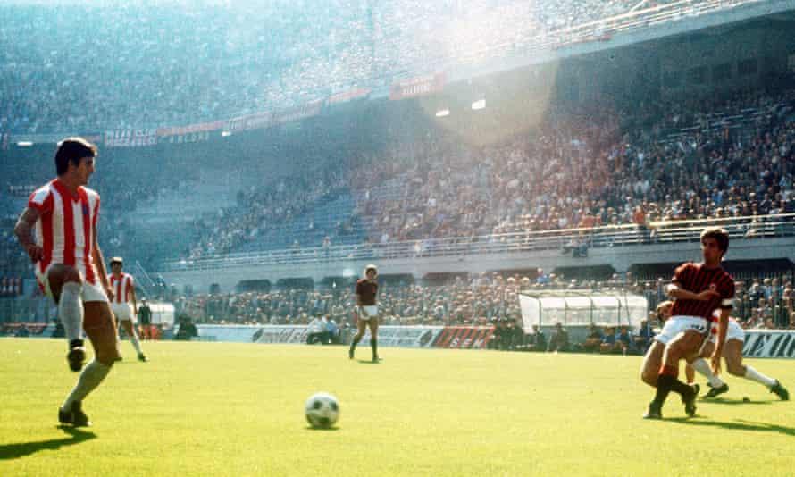 Vicenza playing Milan in 1977.