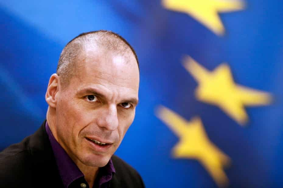 Yanis Varoufakis gives a press conference when he was Greek finance minister, in March 2015.
