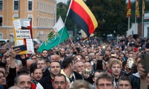 Far-right protesters on the streets of Chemnitz last week.