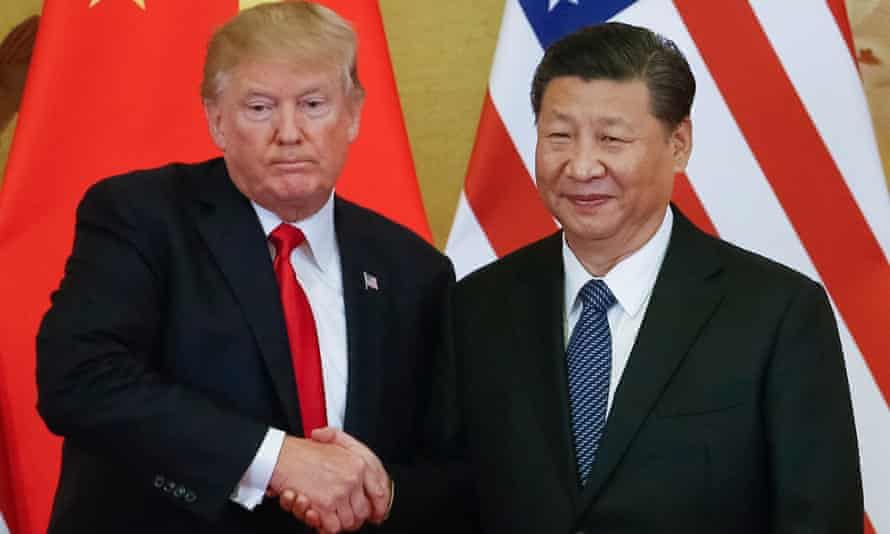 Donald Trump meets President Xi Jinping of China in Beijing in 2017. Triggering a trade war between the world's two biggest economies represents a huge gamble.