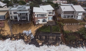 A view of damaged houses along Terrigal beach in New South Wales, Australia, 27 July 2020