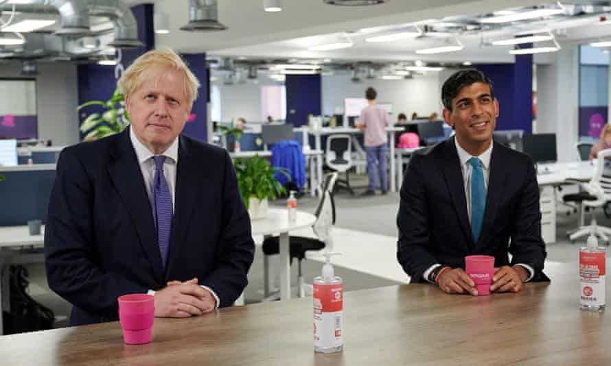 Boris Johnson and Rishi Sunak during a visit to the headquarters of Octopus Energy in London, 5 October 2020.