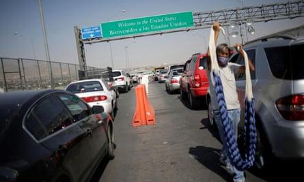Vehicles wait in line to cross the border bridge crossing from Ciudad Juárez, Mexico, towards El Paso, Texas.