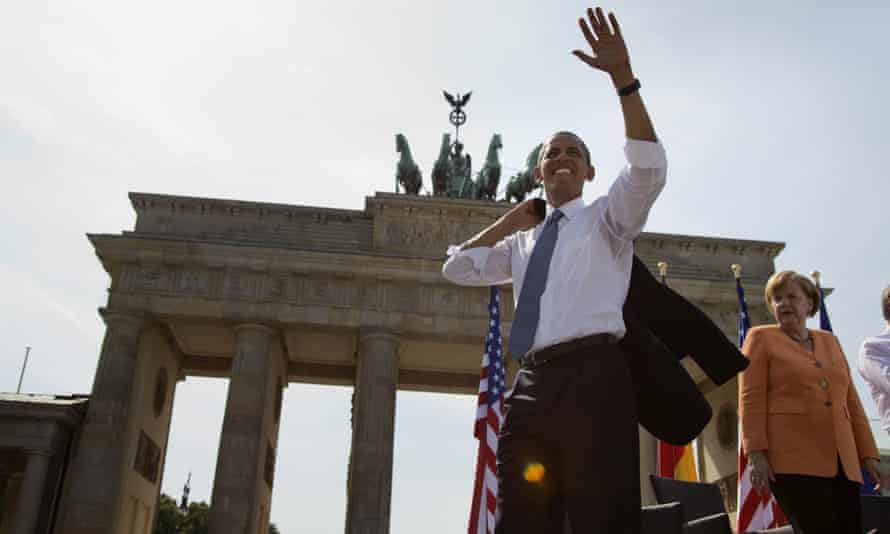 Barack Obama in 2013, during his first Berlin speech as a US president and Angela Merkel.