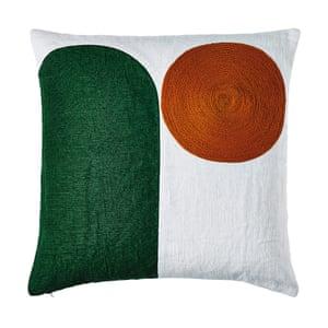 Vibrant green geometric shape with orange embroidery