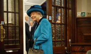 Queen Elizabeth II at the Royal Philatelic Society headquarters, central London.