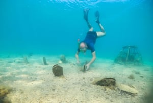 Zoran Micic, a worker from the Pula aquarium, inspects a dead Pinna nobilis in the Adriatic Sea near Pula, Croatia.