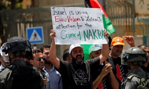 Palestinians protest against the Eurovision song contest hosted by Israel.