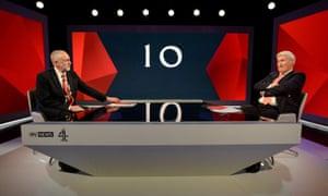Jeremy Corbyn is interviewed by Jeremy Paxman
