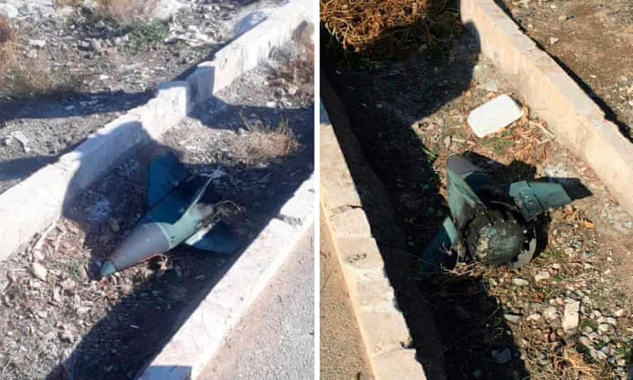 Images circulating online of what an Iranian activist said was missile head photographed near the crash site.