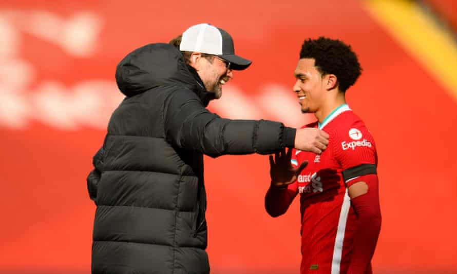 Jurgen Klopp congratulates Trent Alexander-Arnold after he scored the last-minute winner for Liverpool against Aston Villa.