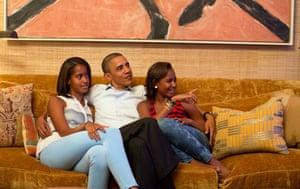 Obama with daughters, Malia and Sasha