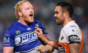 England's James Graham. left, who captains Canterbury in the NRL