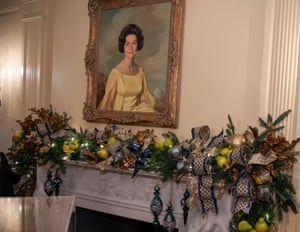 A portrait of Lady Bird Johnson, a former first lady, hangs above the fireplace in the Vermeil Room