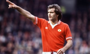Ray Wilkins appearing for Manchester United against Brighton in 1979.