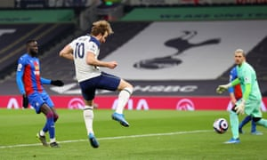 Harry Kane scores his side's fourth goal.