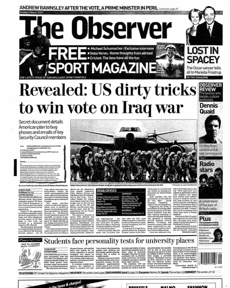 The Observer's front-page splash on Sunday 2 March 2003.