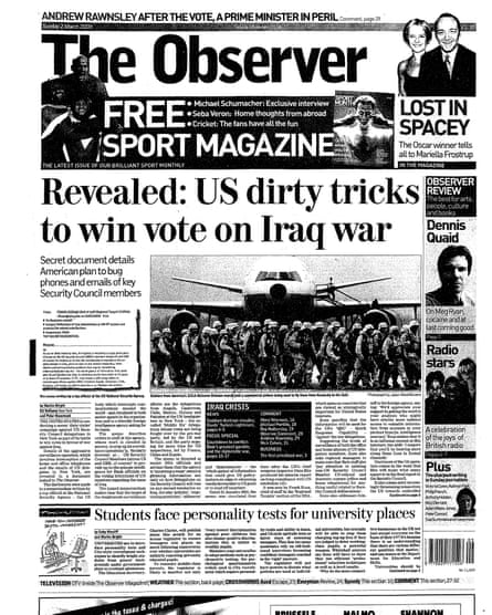 The Observer's front page on 2 March 2003.