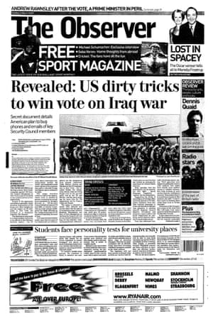 Katharine Gun's story hits the front page of the Observer, 2 March 2003.
