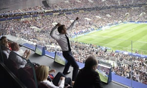Moscow, RussiaThe French president, Emmanuel Macron, celebrates his team's victory over Croatia in the 2018 World Cup final