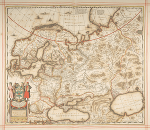 Russia, 1680In 1680, Moses Pitt began to produce a giant multi-volume 'English Atlas' to rival the great Dutch productions of the time as an English status symbol. Unfortunately, costs spiralled –– over £100,000 per volume in today's money. 'The whole design is blasted,' said the publisher, whilst Pitt languished in debtor's prison.
