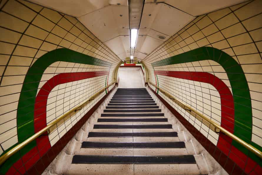 The tiling at Piccadilly Circus, which was refurbished in the mid-1980s. The original tile designs helped a then less literate population identify where they were.