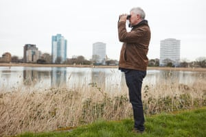 Stephen Moss, naturalist and author, observes birdlife at Woodberry wetlands.