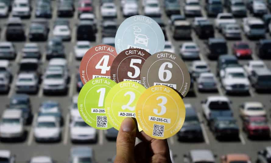 There are six types of Crit'Air sticker, indicting the age and cleanliness of a vehicle.