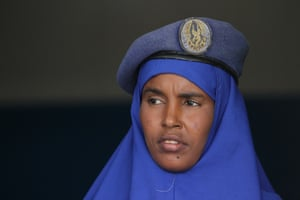 A female officer of the Somali police force after completing training on human rights, and international humanitarian law and policing