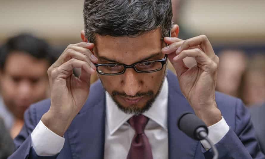 Sundar Pichai, CEO of Google, is questioned before a House committee on the company's privacy security.
