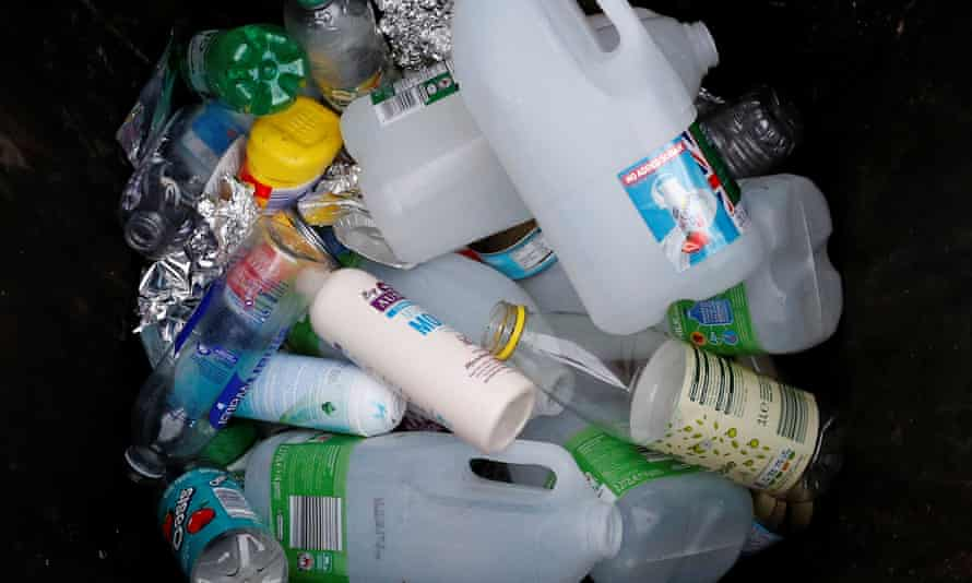 Plastic bottles and containers are seen in a domestic recycling bin in Manchester, Britain, November 20, 2018. REUTERS/Phil Noble