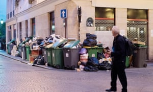 Uncollected rubbish bins in Paris.