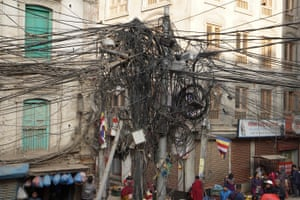 A mess of electricity cables in Kathmandu