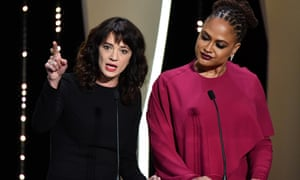 Actor and activist Asia Argento left with Ava DuVernay at the Cannes film festival, calling for change.