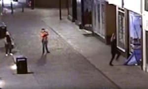 Still taken from CCTV issued by Humberside Police an attack on two homeless men in a doorway which was caught on city centre CCTV in Hull.