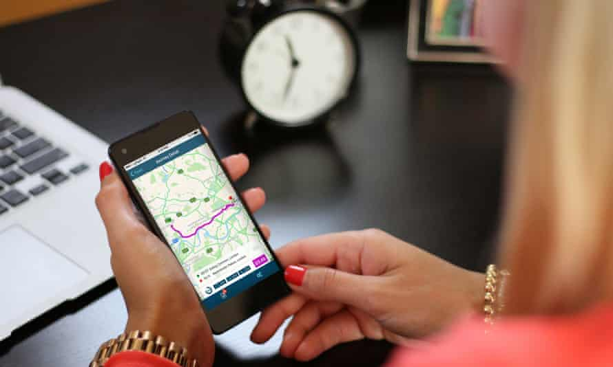 Drivers input a destination in the Just Miles app to see what their insurance cover would cost.