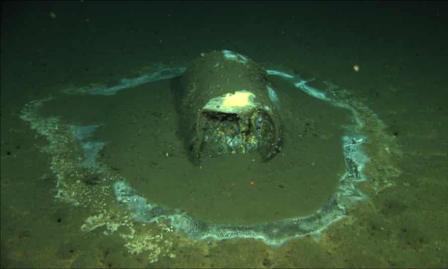 A barrel containing what scientists believe to be DDT waste sits on the ocean floor near the coast of Santa Catalina Island, California.