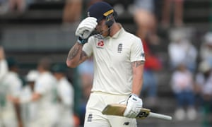 Ben Stokes starts walking off after being dismissed during day one of the fourth Test against South Africa.