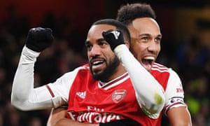 Alexandre Lacazette (left) and Pierre-Emerick Aubameyang (right) celebrate Arsenal's fourth.