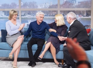 London, UK Holly Willoughby, Eamonn Holmes and Ruth Langsford show their support to Philip Schofield after he comes out as gay live on TV on the This Morning show.