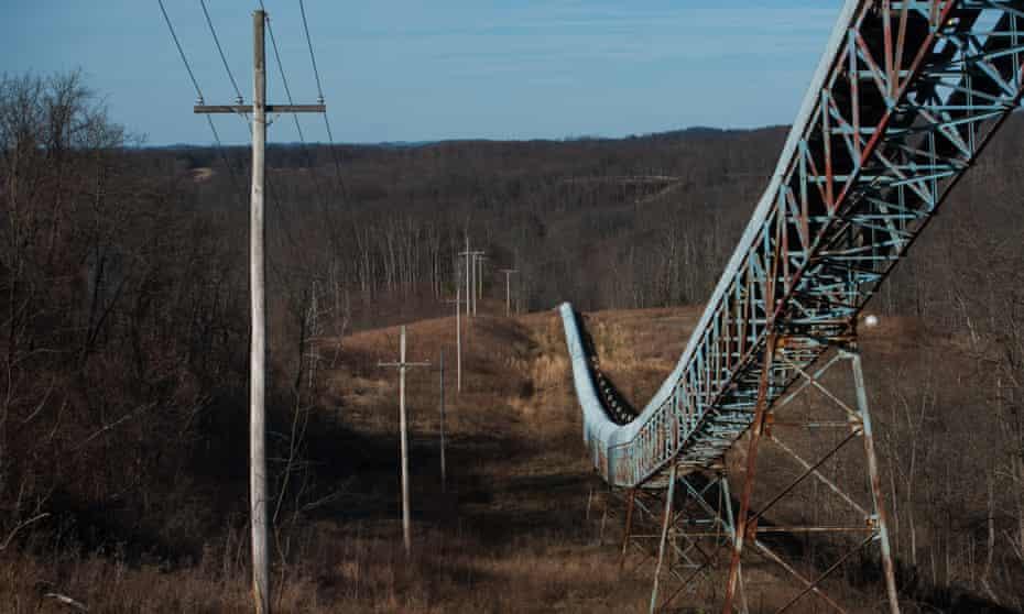 A coal conveyor belt runs through the hillside of what was once the Sago Coal Mine.
