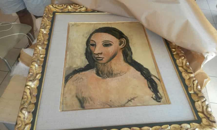 Pablo Picasso's Head of a Young Woman, not allowed to leave Spain, was found on a boat in Corsica, French authorities have said.