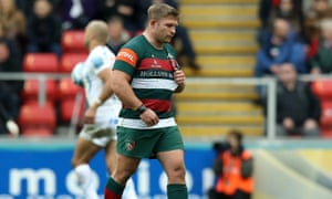 Tom Youngs of Leicester walks off after being shown the red card against Exeter.