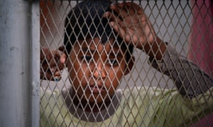 A young Rohingya refugee from Myanmar is held at a detention centre in Medan, Indonesia.