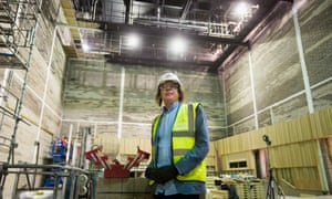 Julian Lloyd Webber inside what will be the concert hall at the new conservatoire in Birmingham.