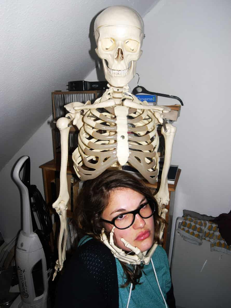 'This is Loraine, when late one night we ended up at a friend's house who had been given a lifesize medical skeleton. Naturally we took photos with it.'